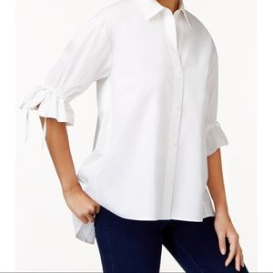 Vince Camuto White 3/4 Sleeve White Cotton Blouse
